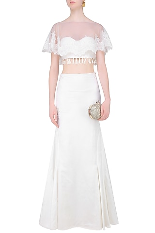 Ivory Embroidered Cape and Skirt Set With Cape by The little black bow