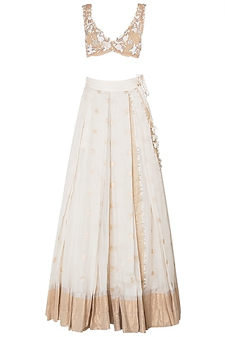 Off White Floral Embroidered Lehenga Set by The little black bow