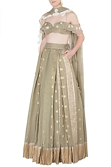 Olive Green Floral Embroidered Lehenga Set by The little black bow