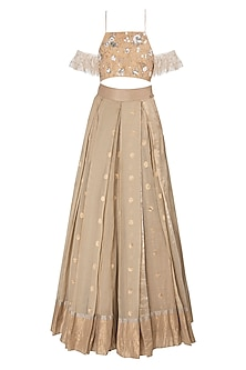 Beige Floral Embroidered Lehenga Set by The little black bow