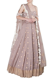 Lilac Floral Embroidered Tassels Lehenga Set by The little black bow
