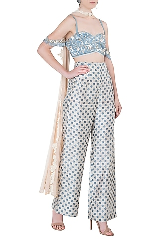 Dusky Blue Embroidered Off Shoulder Crop Top with Trousers and Dupatta by The little black bow