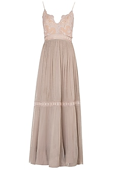 Beige Tiered Lace Tunic Set by The little black bow