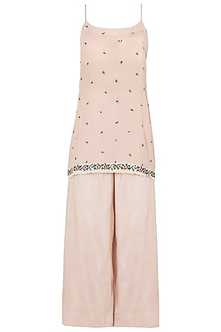 Pink Handwoven Slip Tunic with Flared Trousers and Dupatta by The little black bow
