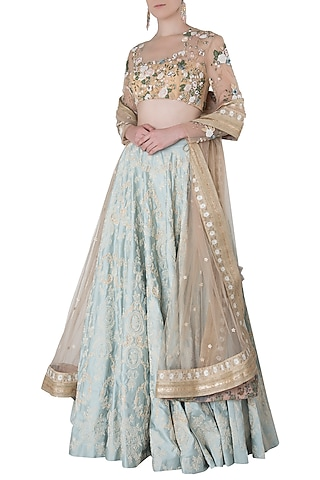 Beige and Mint Blue Floral Embroidered Lehenga Set by The little black bow