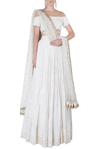White Floral Embroidered Lehenga Set by The little black bow