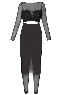 Black Floral Embroidered Layered Cutout Shirt And Tights Set by The little black bow
