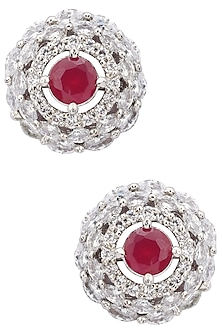 Silver Plated Semi Precious Ruby Stone Stud Earrings by TI Couture By Tania M Kathuria