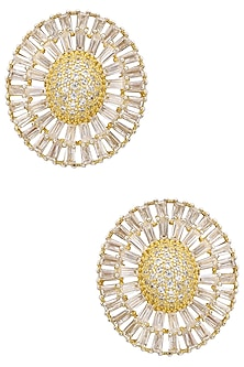 Gold Plated Diamond and Semi Precious Stone Earrings by TI Couture By Tania M Kathuria