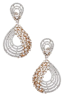 Rose Gold Semi Precious Stone Danglers by TI Couture By Tania M Kathuria