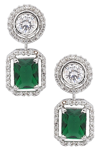 Silver Plated American Diamond and Green Stone Earrings by TI Couture By Tania M Kathuria