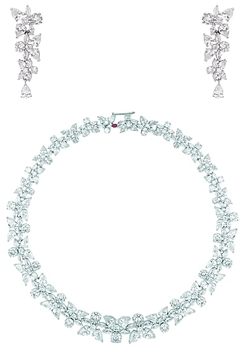 Silver Plated American Diamond Necklace Set by TI Couture By Tania M Kathuria