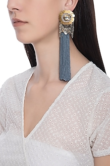 Rose gold plated grey fish tassel earrings by TI Couture By Tania M Kathuria