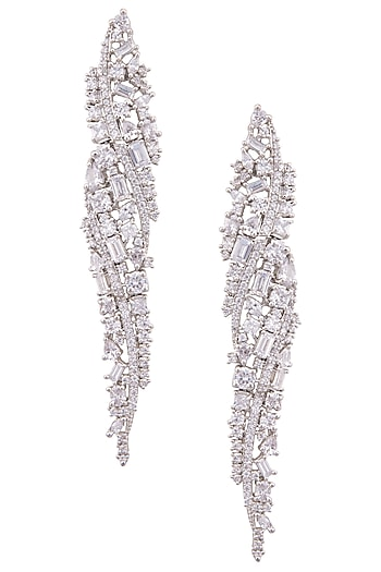 Silver plated diamond and pearl layered dangler earrings by TI Couture By Tania M Kathuria