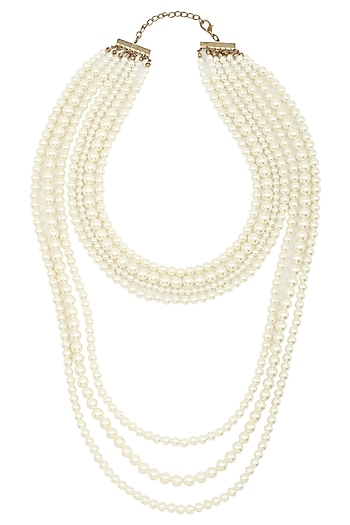 Multi-Layered Shell Pearls Statement Neckpiece by TI Couture By Tania M Kathuria