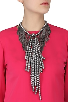 Multi-Strand Pearls and Metal Chain Statement Neckpiece by TI Couture By Tania M Kathuria