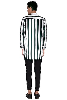 Bottle Green & White Striped Shirt by The Natty Garb