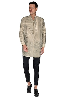 Beige Marble Printed Kurta by The Natty Garb
