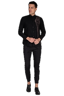 Black Embroidered Shirt by The Natty Garb