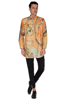 Multi Colored Natural Marble Printed Kurta by The Natty Garb