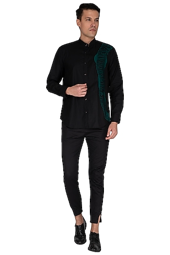 Black Embroidered Nehru Collared Shirt by The Natty Garb