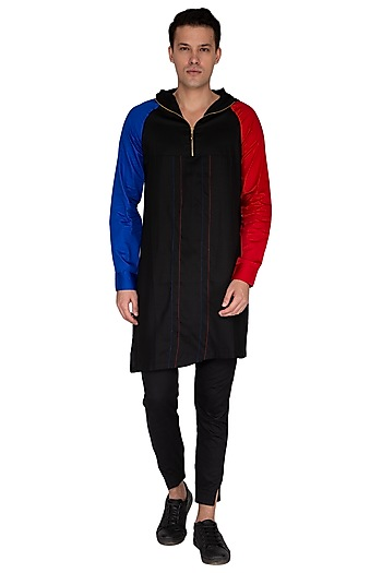 Black Asymmetrical Hoodie Kurta by The Natty Garb