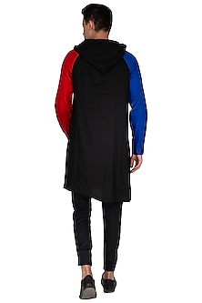 Black Asymmetrical Hoodie Kurta by The Natty Garb