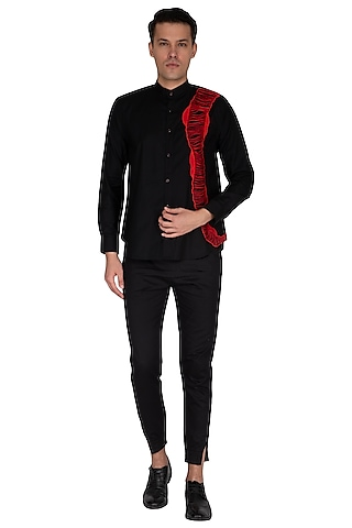 Black Embroidered Cotton Shirt by The Natty Garb