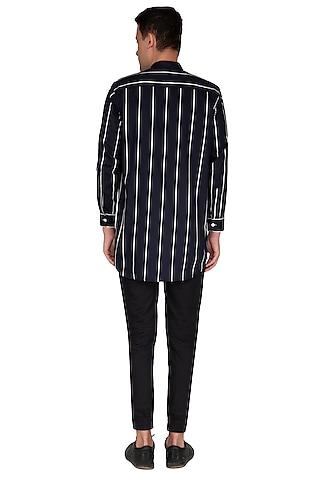 Navy Blue Striped Shirt by The Natty Garb