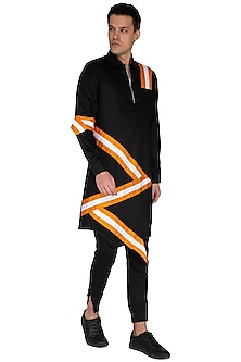 Black Striped Asymmetric Kurta by The Natty Garb