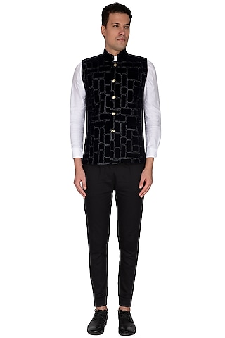 Navy Blue Embroidered Waistcoat by The Natty Garb