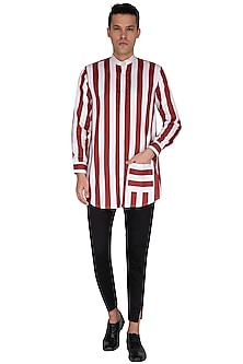 White & Maroon Striped Shirt by The Natty Garb