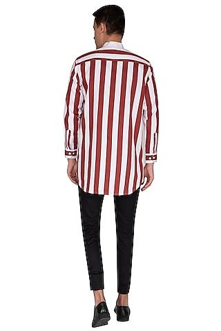White & Maroon Striped Shirt by The Natty Garb