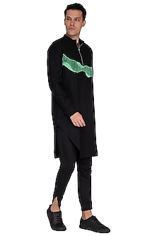 Black Embroidered Kurta by The Natty Garb