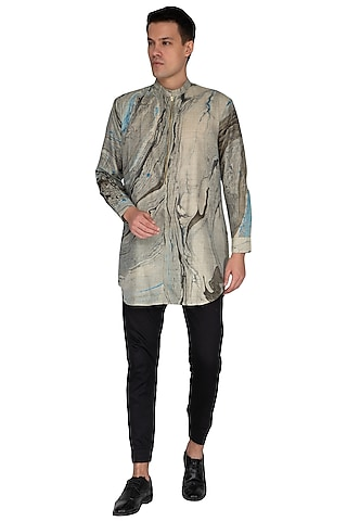 Multi Colored Marble Printed Kurta by The Natty Garb