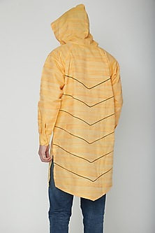Yellow Asymmetric Hoodie Kurta by The Natty Garb
