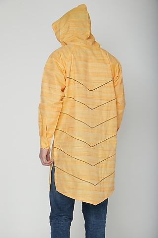 Yellow Asymmetric Hoodie Kurta by The Natty Garb