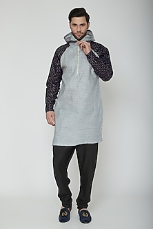Grey & Cobalt Blue Kurta With A Hood by The Natty Garb