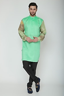 Neo-Mint Green Printed Kurta by The Natty Garb