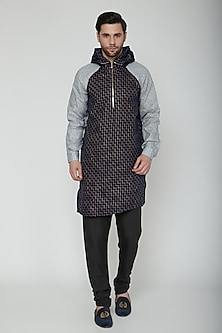 Cobalt Blue & Grey Kurta With A Hood by The Natty Garb