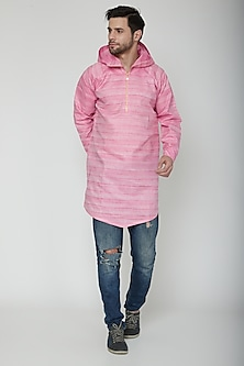 Blush Pink Asymmetric Hoodie Kurta by The Natty Garb