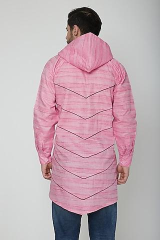 Blush Pink Asymmetric Hoodie Kurta by The Natty Garb