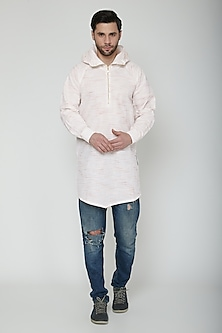 White Asymmetric Hoodie Kurta by The Natty Garb