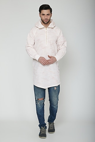 White Asymmetric Hoodie Kurta by The Natty Garb