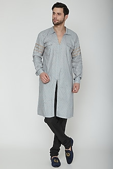 Grey & Gold Front Slit Kurta by The Natty Garb
