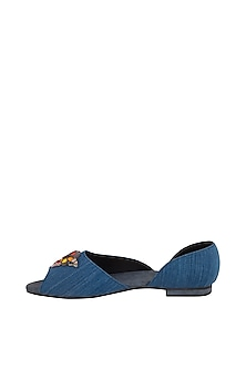Blue Embroidered Denim Ballerinas by TEAL BY VRINDA GUPTA