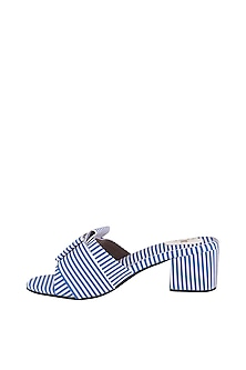 Blue Striped Handcrafted Heels by TEAL BY VRINDA GUPTA