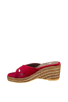Maroon Embroidered Makhmal Wedges by TEAL BY VRINDA GUPTA