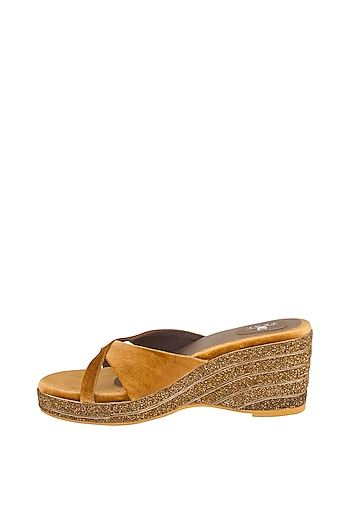 Gold Embroidered Makhmal Wedges by TEAL BY VRINDA GUPTA