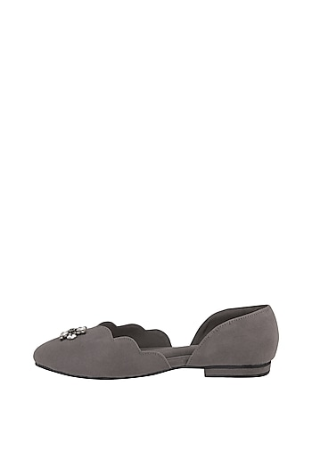 Grey Embroidered Suede Ballerinas by TEAL BY VRINDA GUPTA